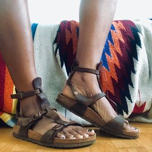Free People Shoes - Birkenstock Chania Gladiator Brown Leather Sandal